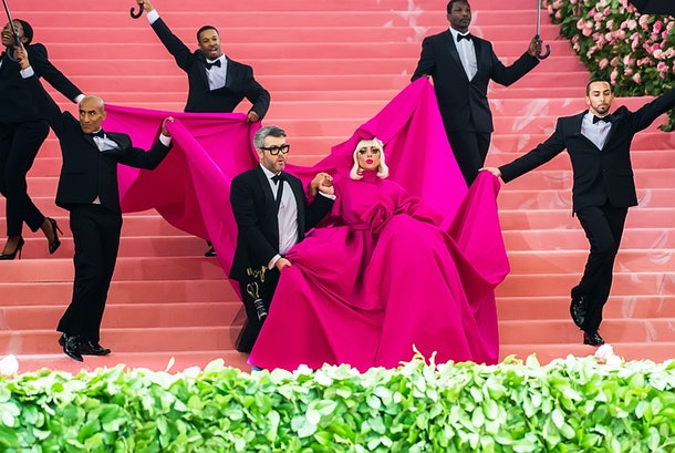 NEW YORK, NY - MAY 06:  Fashion designer Brandon Maxwell and singer-songwriter and actress Lady Gaga are seen arriving to the 2019 Met Gala Celebrating Camp: Notes on Fashion at The Metropolitan Museum of Art on May 6, 2019 in New York City.  (Photo by Gilbert Carrasquillo/GC Images)