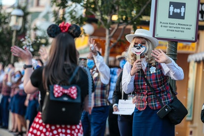 Anaheim, CA, Friday, April 30, 2021 - A limited number of people come to Disneyland the first day after closing more than a year ago.  (Robert Gauthier/Los Angeles Times via Getty Images)