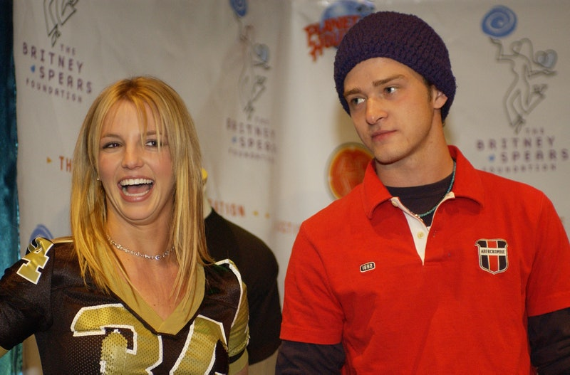 Britney Spears & Justin Timberlake during Super Bowl XXXVI - Britney Spears & Justin Timberlake Host Super Bowl Fundraiser at Planet Hollywood Times Square at Planet Hollywood Times Square in New York City, New York, United States. (Photo by Denise Truscello/WireImage)