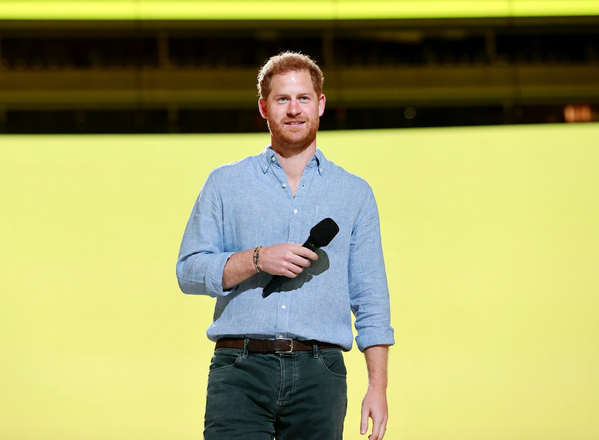 INGLEWOOD, CALIFORNIA: In this image released on May 2, Prince Harry, Duke of Sussex speaks onstage ...