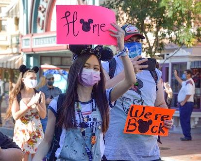 "Anaheim, CA - April 30: Visitors to Disneyland walk up Main Street U.S.A. during the park""u2019s reo..."