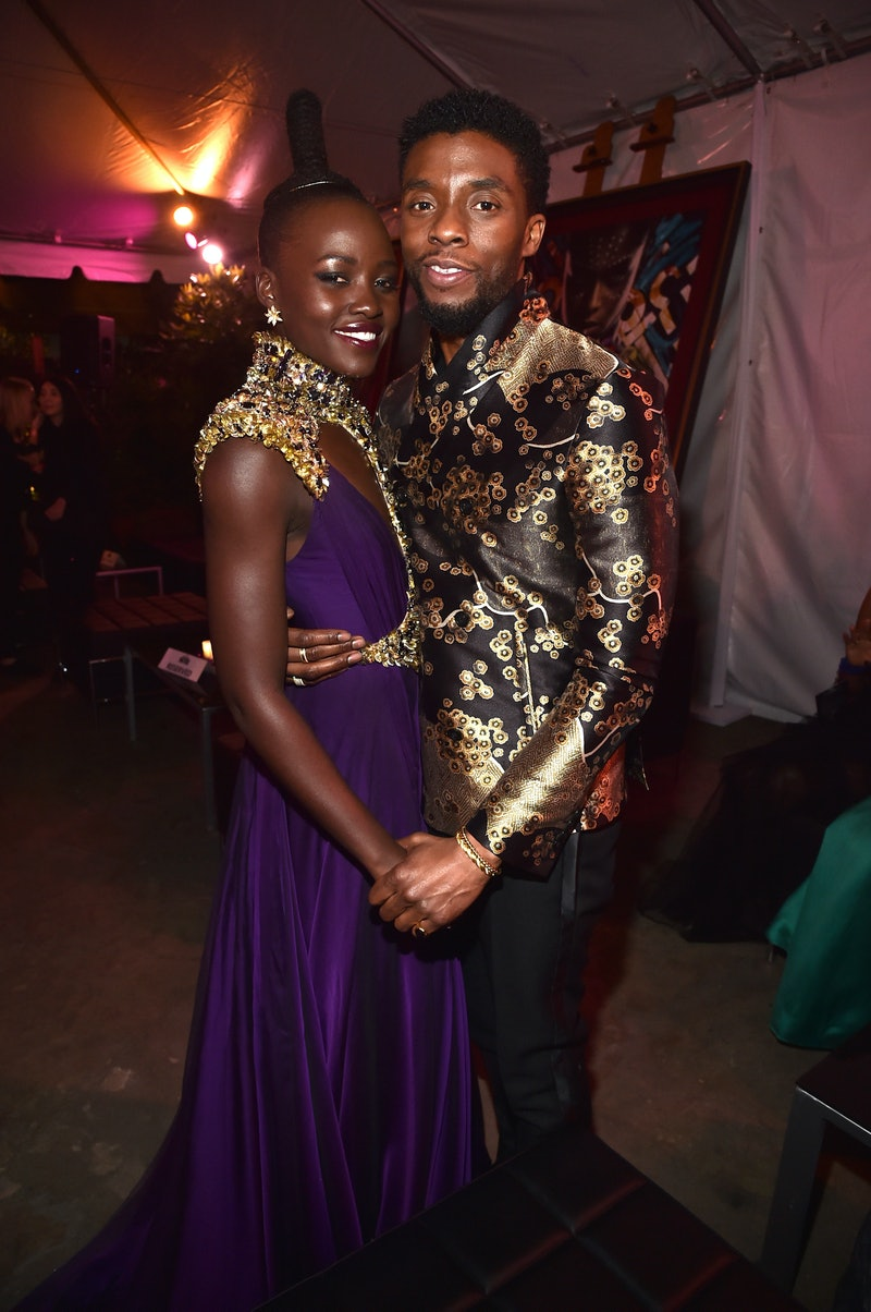 HOLLYWOOD, CA - JANUARY 29: Actors Lupita Nyong'o (L) and Chadwick Boseman at the Los Angeles World Premiere of Marvel Studios' BLACK PANTHER at Dolby Theatre on January 29, 2018 in Hollywood, California.  (Photo by Alberto E. Rodriguez/Getty Images for Disney)
