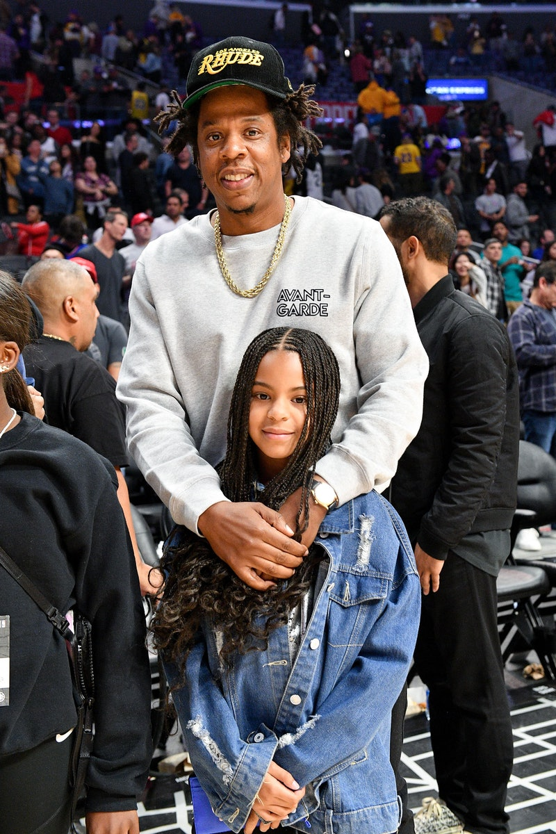 LOS ANGELES, CALIFORNIA - MARCH 08: Jay-Z and Blue Ivy Carter attend a basketball game between the Los Angeles Clippers and the Los Angeles Lakers at Staples Center on March 08, 2020 in Los Angeles, California. (Photo by Allen Berezovsky/Getty Images)