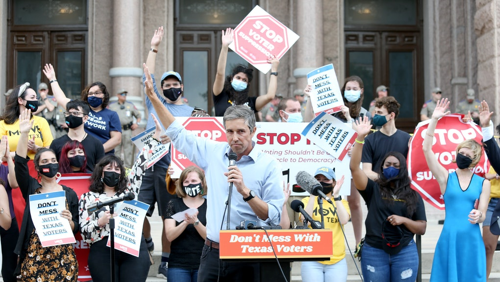 """AUSTIN, TEXAS - MAY 08:  Former United States Representative Beto O'Rourke speaks during the """"Texans Rally For Our Voting Rights"""" event at the Texas Capitol Building on May 8, 2021 in Austin, Texas.  (Photo by Gary Miller/Getty Images)"""