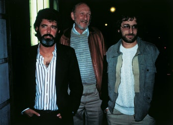 Portrait of American directors George Lucas, Irvin Kershner and Steven Spielberg. 1980s (Photo by Mo...
