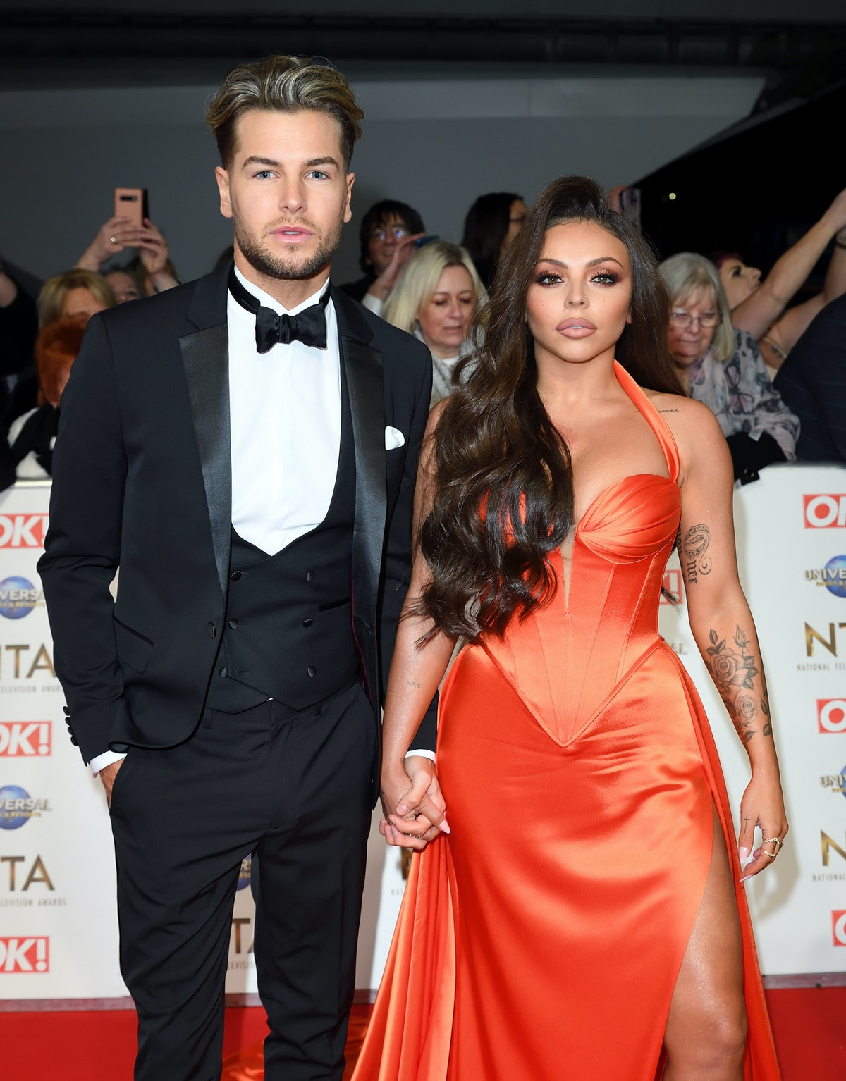 LONDON, ENGLAND - JANUARY 28: Chris Hughes and Jesy Nelson attend the National Television Awards 2020 at The O2 Arena on January 28, 2020 in London, England. (Photo by Karwai Tang/WireImage)