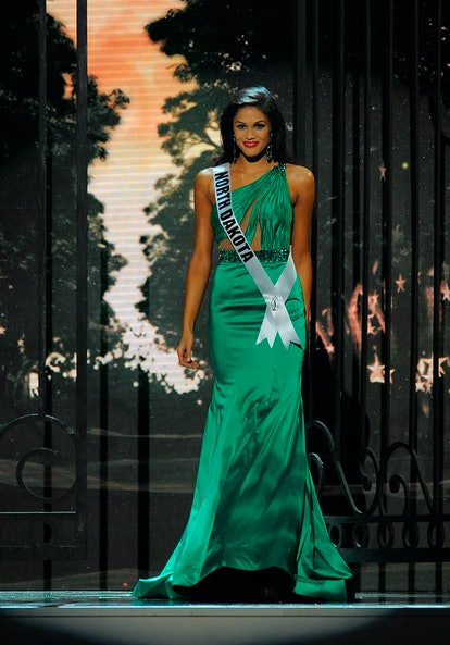 BATON ROUGE, LA - JUNE 08:  Miss North Dakota USA Audra Mari competes in the 2014 Miss USA Competition at The Baton Rouge River Center on June 8, 2014 in Baton Rouge, Louisiana.  (Photo by Stacy Revere/Getty Images)