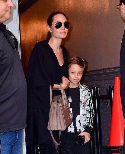 NEW YORK, NY - JUNE 19:  Angelina Jolie and Knox Jolie-Pitt leave Broadway musical Hamilton at Richa...