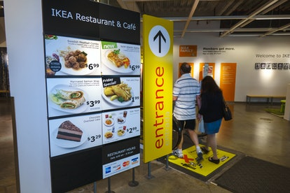 IKEA, restaurant and caf_ entrance sign. (Photo by: Jeffrey Greenberg/Universal Images Group via Get...