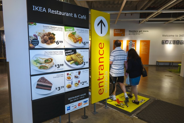 IKEA, restaurant and caf_ entrance sign. (Photo by: Jeffrey Greenberg/Universal Images Group via Getty Images)