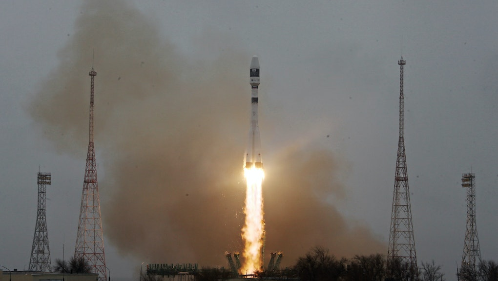 KYZYLORDA REGION, KAZAKHSTAN - MARCH 22, 2021: A Soyuz-2.1a rocket booster with a Fregat upper stage block carrying 38 satellites from 18 countries blasts off from a launch pad of Baikonur Cosmodrome. The rocket has delivered to orbit South Korea's CAS500-1 remote sensing satellite, Japan's ELSA-d space junk disposal satellite, Japan's GRUS satellites, Saudi Arabia's NAJM-1 Earth-observation satellite, communications satellites of Berlin Technical University, NIU-VShE-DZZ (CubeSX-HSE), the first spacecraft of National Research University - Higher School of Economics, CubeSX-Sirius-HSE, a spacecraft of the Sirius Center and National Research University - Higher School of Economics, the Orbikraft-Zorky satellite of Russia's Sputniks Company and others. Press Office of the Roscosmos State Corporation/TASS  THIS IMAGE WAS PROVIDED BY A THIRD PARTY. EDITORIAL USE ONLY  (Photo by Roscosmos Press Office\TASS via Getty Images)