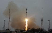 KYZYLORDA REGION, KAZAKHSTAN - MARCH 22, 2021: A Soyuz-2.1a rocket booster with a Fregat upper stage...