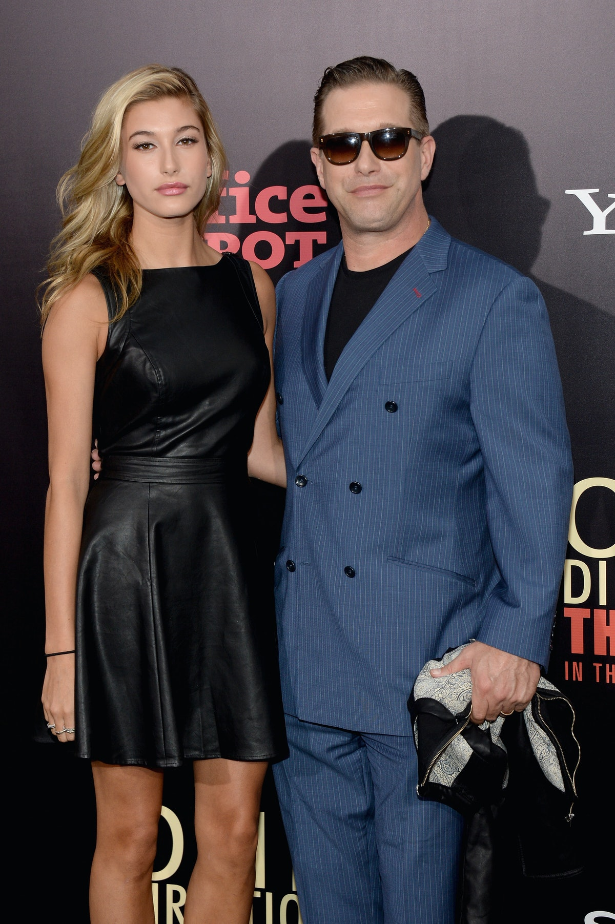 """NEW YORK, NY - AUGUST 26: Hailey Rhode Baldwin (L) and Stephen Baldwin attend the New York premiere of """"One Direction: This Is Us"""" at the Ziegfeld Theater on August 26, 2013 in New York City.  (Photo by Jamie McCarthy/Getty Images)"""