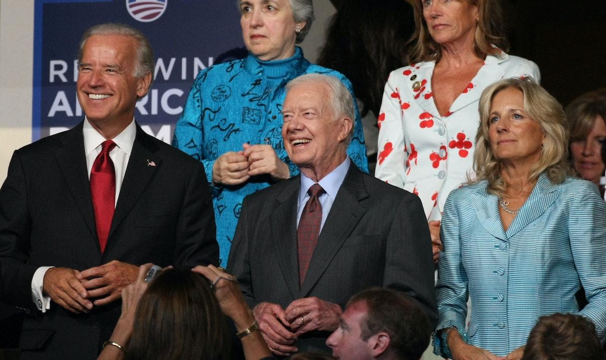 DENVER - AUGUST 26:  (L-R) U.S. Sen. Joe Biden, former president Jimmy Carter, and Jill Biden watch ...