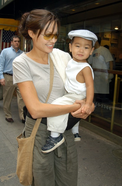 Angelina Jolie and Baby Maddox in New York City, New York (Photo by Carmen Valdes/Ron Galella Collec...
