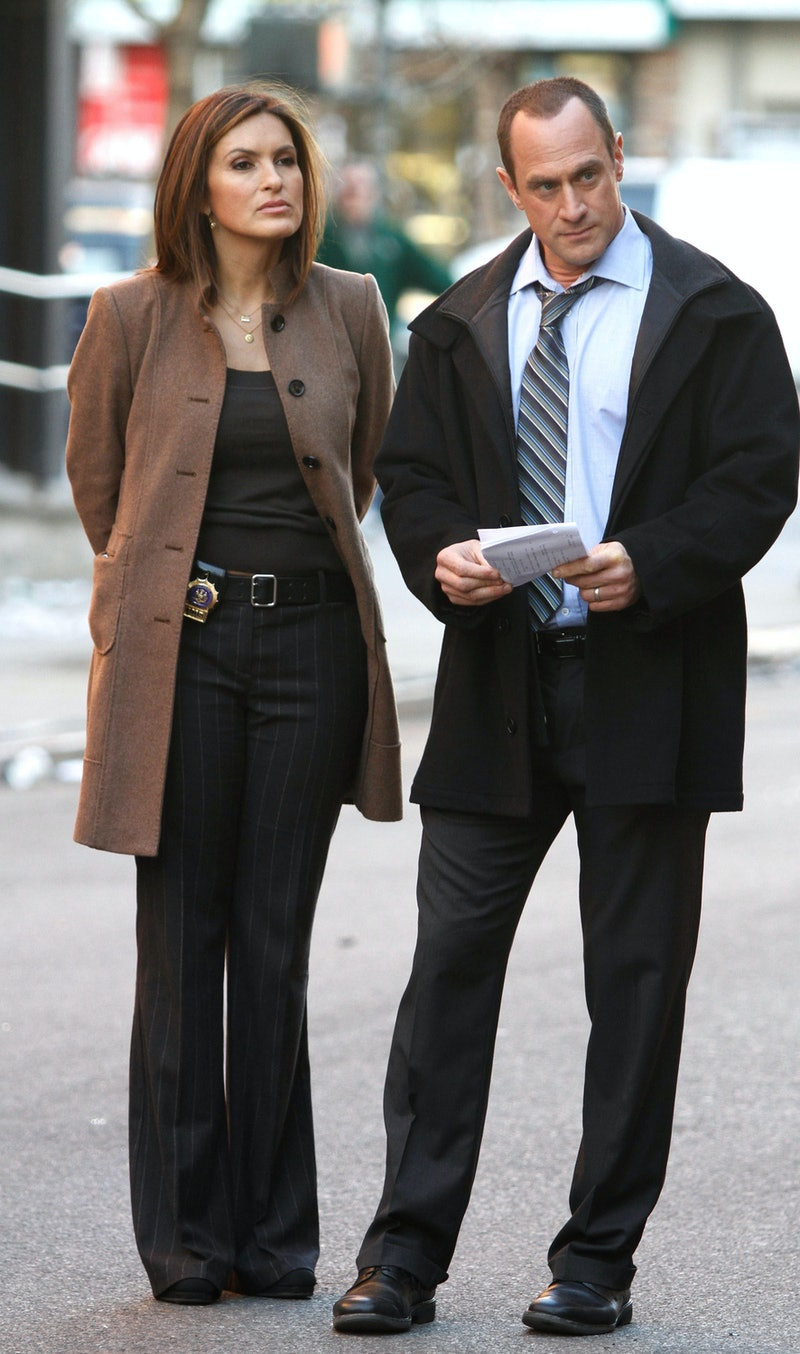"""NEW YORK - MARCH 17: Mariska Hargitay and Chris Meloni are seen working on the set of the NBC TV Show """"Law and Order SVU"""" in Harlem on March 17, 2010 in New York, New York. (Photo by Marcel Thomas/FilmMagic)"""