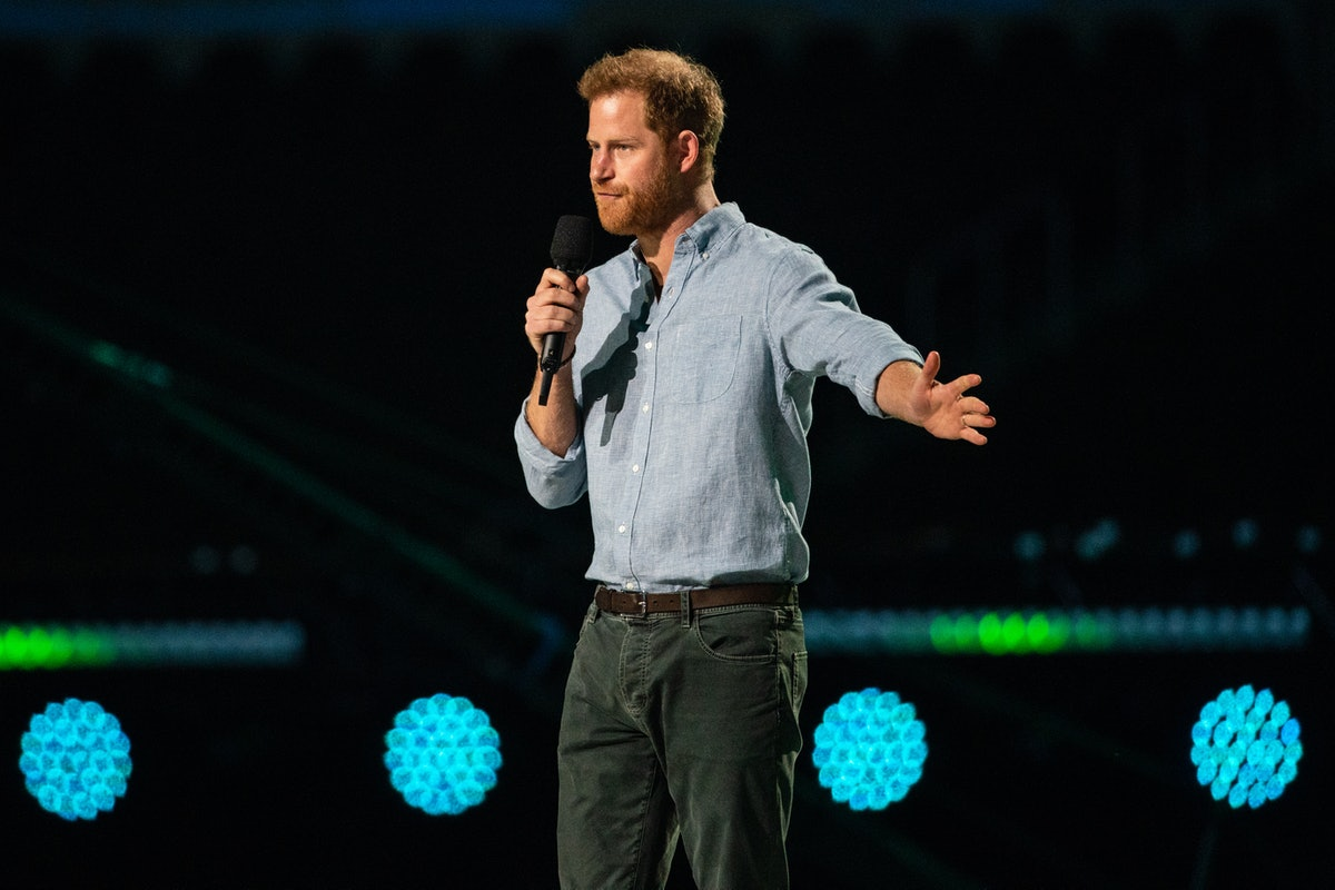 INGLEWOOD, CA - MAY 02: Prince Harry gives remarks at the Vax Live concert at SoFi Stadium on Sunday...