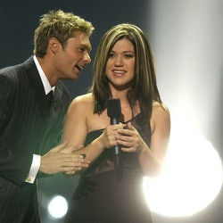 """Ryan Seacrest & Kelly Clarkson during """"American Idol"""" Season 1 Finale - Performance Show at Kodak Theatre in Hollywood, California, United States. (Photo by SGranitz/WireImage)"""