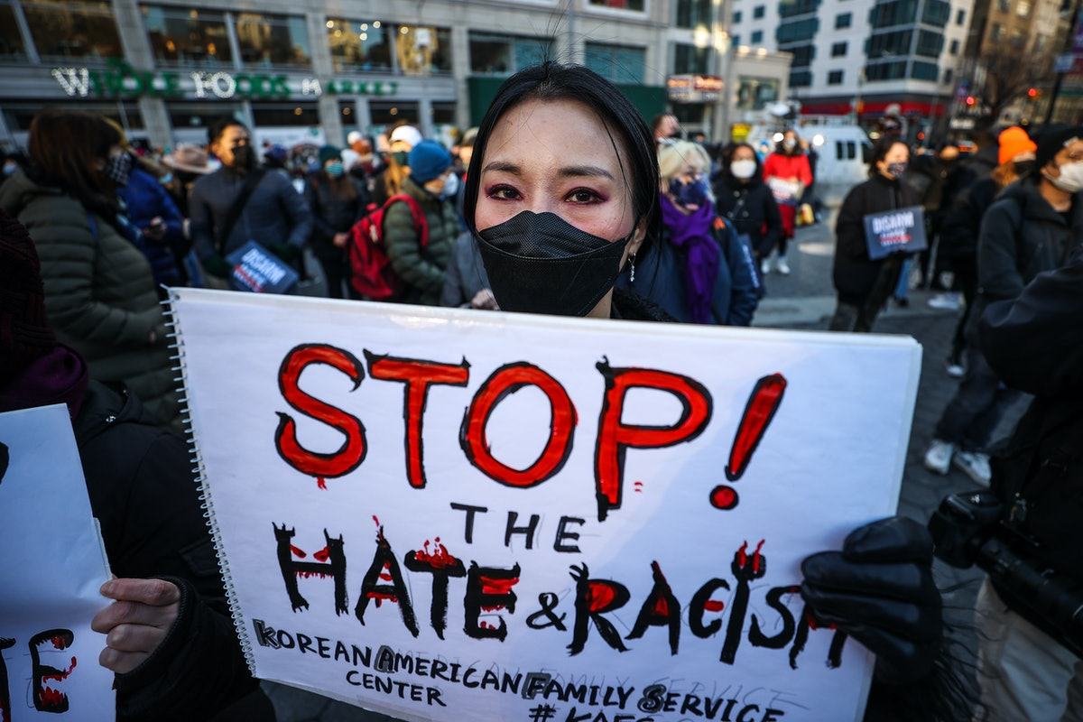 NEW YORK, USA - MARCH 19: Asian Americans and New Yorkers are gathered for a peace vigil for Atlanta Spa shooting victims of Asian hate at the Union Square in New York City, United States on March 19, 2021. (Photo by Tayfun Coskun/Anadolu Agency via Getty Images)