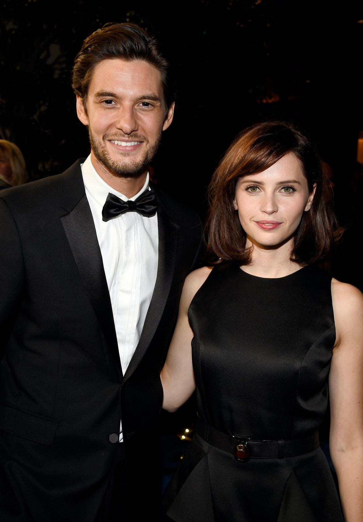 BEVERLY HILLS, CA - OCTOBER 30:  Actors Ben Barnes (L) and Felicity Jones attend the BAFTA Los Angeles Jaguar Britannia Awards presented by BBC America and United Airlines at The Beverly Hilton Hotel on October 30, 2014 in Beverly Hills, California.  (Photo by Frazer Harrison/BAFTA LA/Getty Images for BAFTA LA)