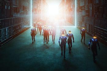 Futuristic corridor with walking cyborgs, 3D generated image.
