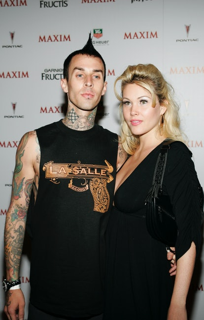 Travis Barker of Blink 182 and Shanna Moakler arrive at the celebrity party to celebrate the 2005 Ma...