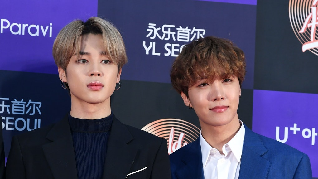 SEOUL, SOUTH KOREA - JANUARY 05: Jimin and J-Hope of BTS arrive at the photo call for the 34th Golden Disc Awards on January 05, 2020 in Seoul, South Korea. (Photo by THE FACT/Imazins via Getty Images)