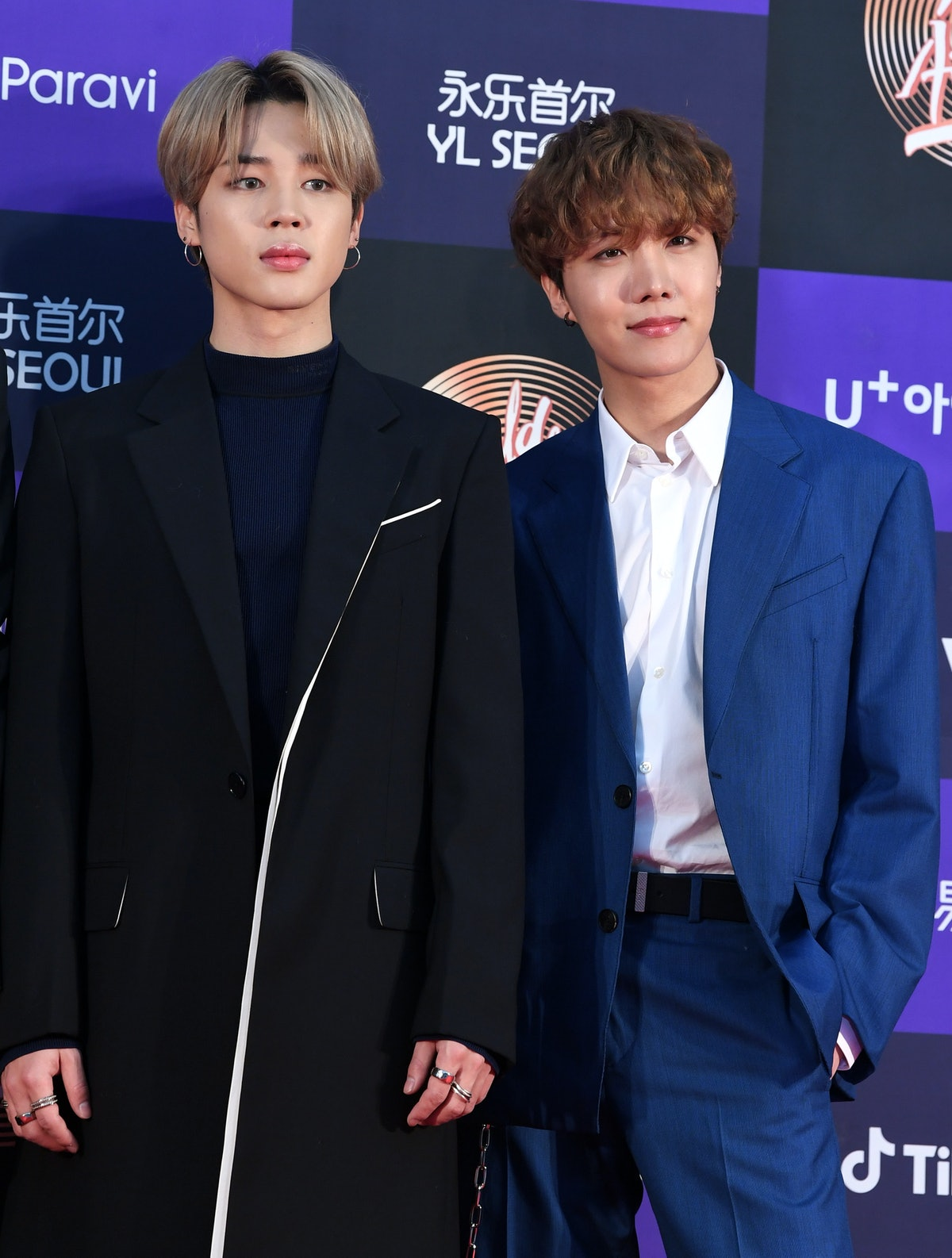SEOUL, SOUTH KOREA - JANUARY 05: Jimin and J-Hope of BTS arrive at the photo call for the 34th Golde...