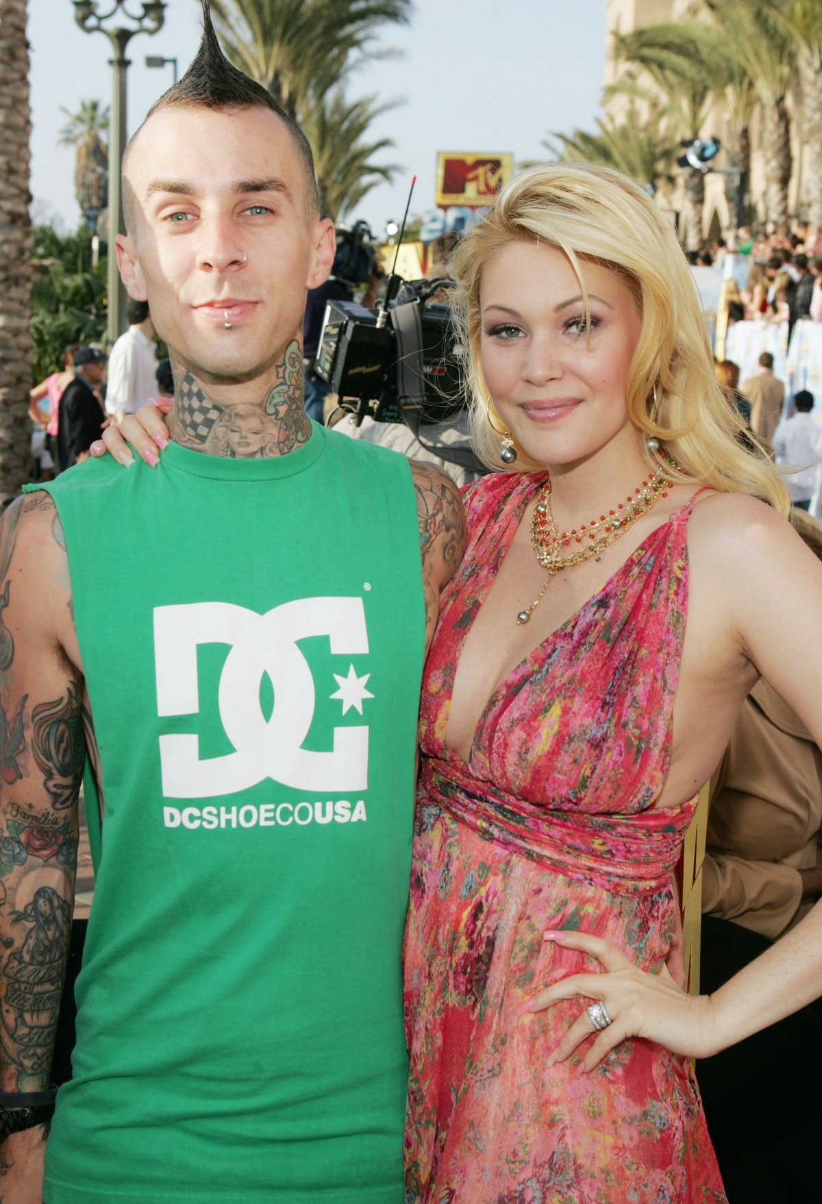Travis Barker and Shanna Moakler during 2005 MTV Movie Awards - Red Carpet at Shrine Auditorium in Los Angeles, California, United States. (Photo by J. Shearer/WireImage)
