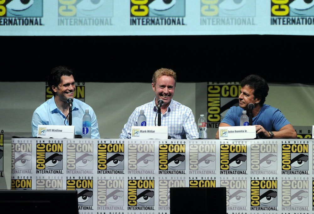 SAN DIEGO, CA - JULY 19:  (L-R) Director/writer Jeff Wadlow and writers Mark Millar and John S. Romi...