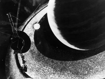 American space probe Voyager I passes the rings of Saturn on its journey to the outer reaches of the Solar System, November 1980. An artist's impression.  (Photo by Keystone/Getty Images)