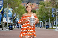 NEW YORK, NEW YORK - SEPTEMBER 13: Naomi Osaka of Japan poses with the US Open trophy the morning after winning the Women's Singles Final on Day Fourteen of the 2020 US Open at the USTA Billie Jean King National Tennis Center on September 13, 2020 in the Queens borough of New York City. (Photo by Matthew Stockman/Getty Images)