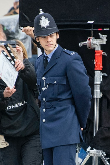 BRIGHTON, ENGLAND - MAY 04: Harry Styles is seen on the filmset for 'My Policeman' on May 04, 2021 i...