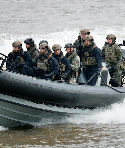 Royal Marines on a boat. Jet suit. Military technology. Tech. Gadgets. Military gadgets.