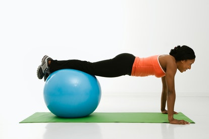 Try using an exercise ball to add a challenge to your core workout.