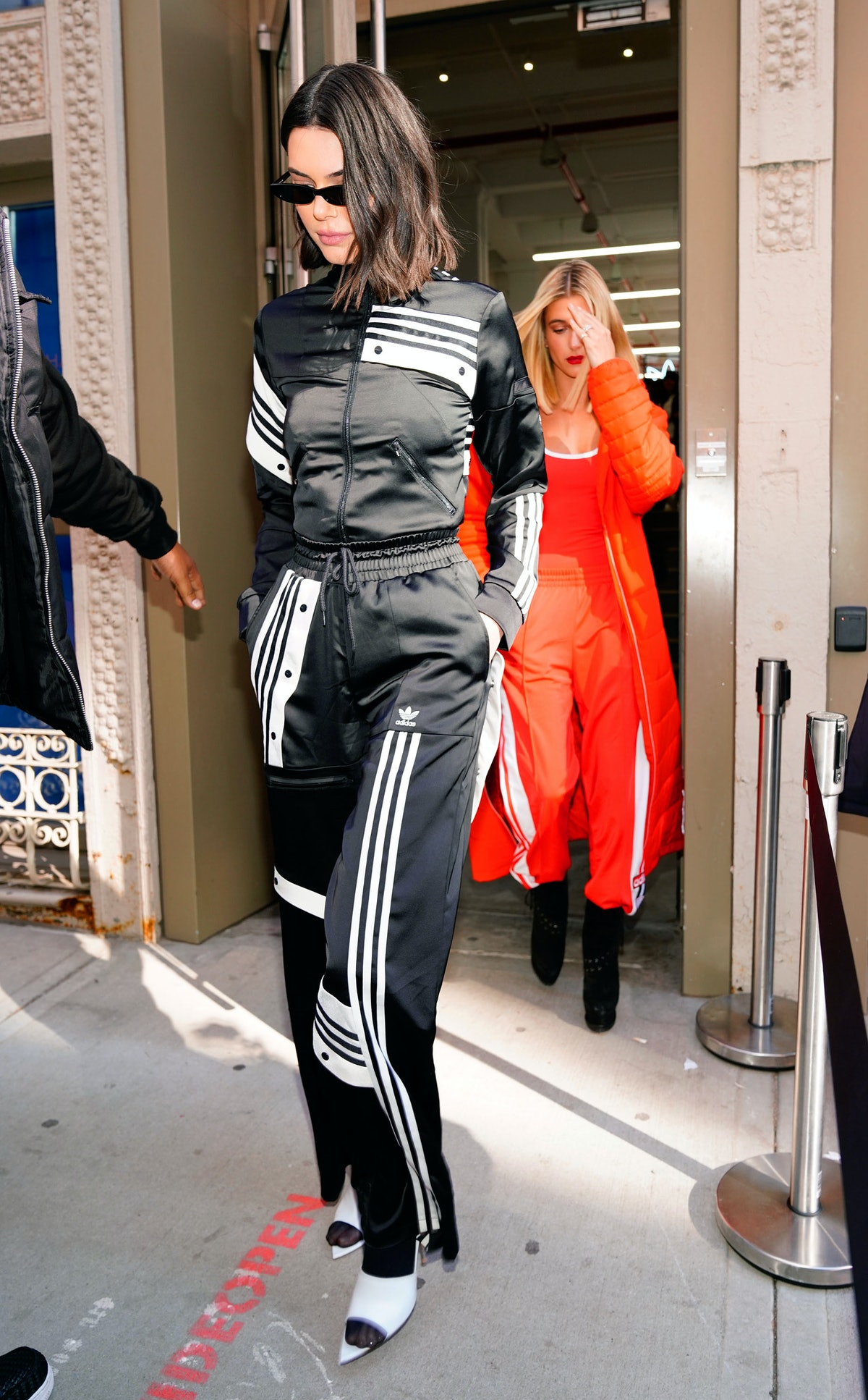 NEW YORK, NY - FEBRUARY 08:  Kendall Jenner and Hailey Baldwin return to their hotel on February 8, ...