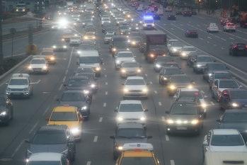 MOSCOW, RUSSIA - APRIL 30, 2021: Traffic congestion in Leninsky Prospekt Street. Alexander Shcherbak...