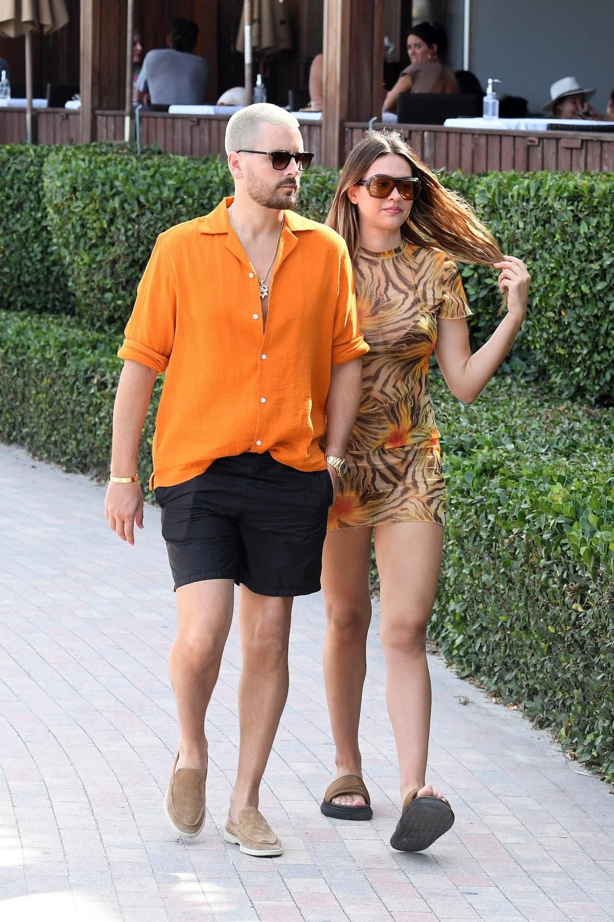 MIAMI FL - APRIL 7: Scott Disick and Amelia Hamlin are seen walking at the beach on April 7, 2021 in Miami, Florida. (Photo by MEGA/GC Images)
