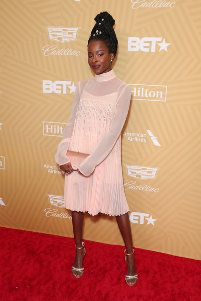 BEVERLY HILLS, CALIFORNIA - FEBRUARY 23: Amanda Gorman attends American Black Film Festival Honors Awards Ceremony at The Beverly Hilton Hotel on February 23, 2020 in Beverly Hills, California. (Photo by Leon Bennett/WireImage)