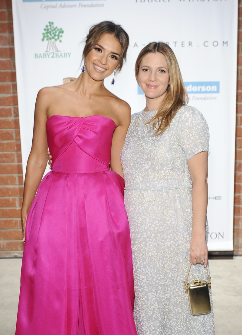 CULVER CITY, CA - NOVEMBER 09:  Baby2Baby board member Jessica Alba (L) and honoree Drew Barrymore attend the second annual Baby2Baby Gala, honoring Drew Barrymore, at Book Bindery on November 9, 2013 in Culver City, California.  (Photo by Stefanie Keenan/Getty Images for Baby2Baby)