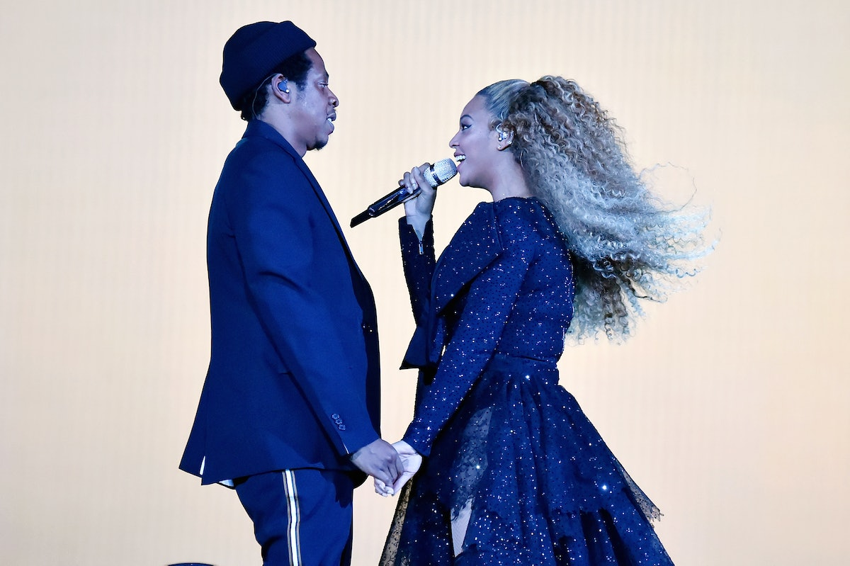 """CARDIFF, WALES - JUNE 06:  Jay-Z and Beyonce Knowles perform on stage during the """"On the Run II"""" tour opener at Principality Stadium on June 6, 2018 in Cardiff, Wales.  (Photo by Kevin Mazur/Getty Images For Parkwood Entertainment)"""