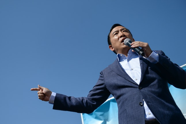 UNITED STATES -  AUGUST 9: Democratic presidential candidate and entrepreneur Andrew Yang speaks at ...