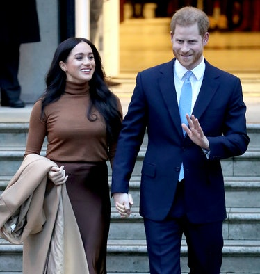 LONDON, ENGLAND - JANUARY 07: Prince Harry, Duke of Sussex and Meghan, Duchess of Sussex depart Cana...