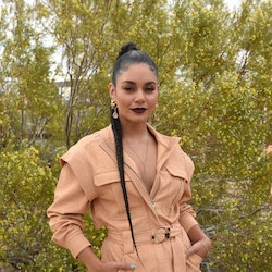 JOSHUA TREE, CALIFORNIA - MAY 01:  Vanessa Hudgens attends Vanessa Hudgens And Oliver Trevena Host 'Caliwater Escape' In Joshua Tree To Celebrate Their New Cactus Water Beverage At The Mojave Moon Ranch Presented By Outdoorsy on May 1, 2021 in Joshua Tree, California. (Photo by Vivien Killilea/Getty Images)