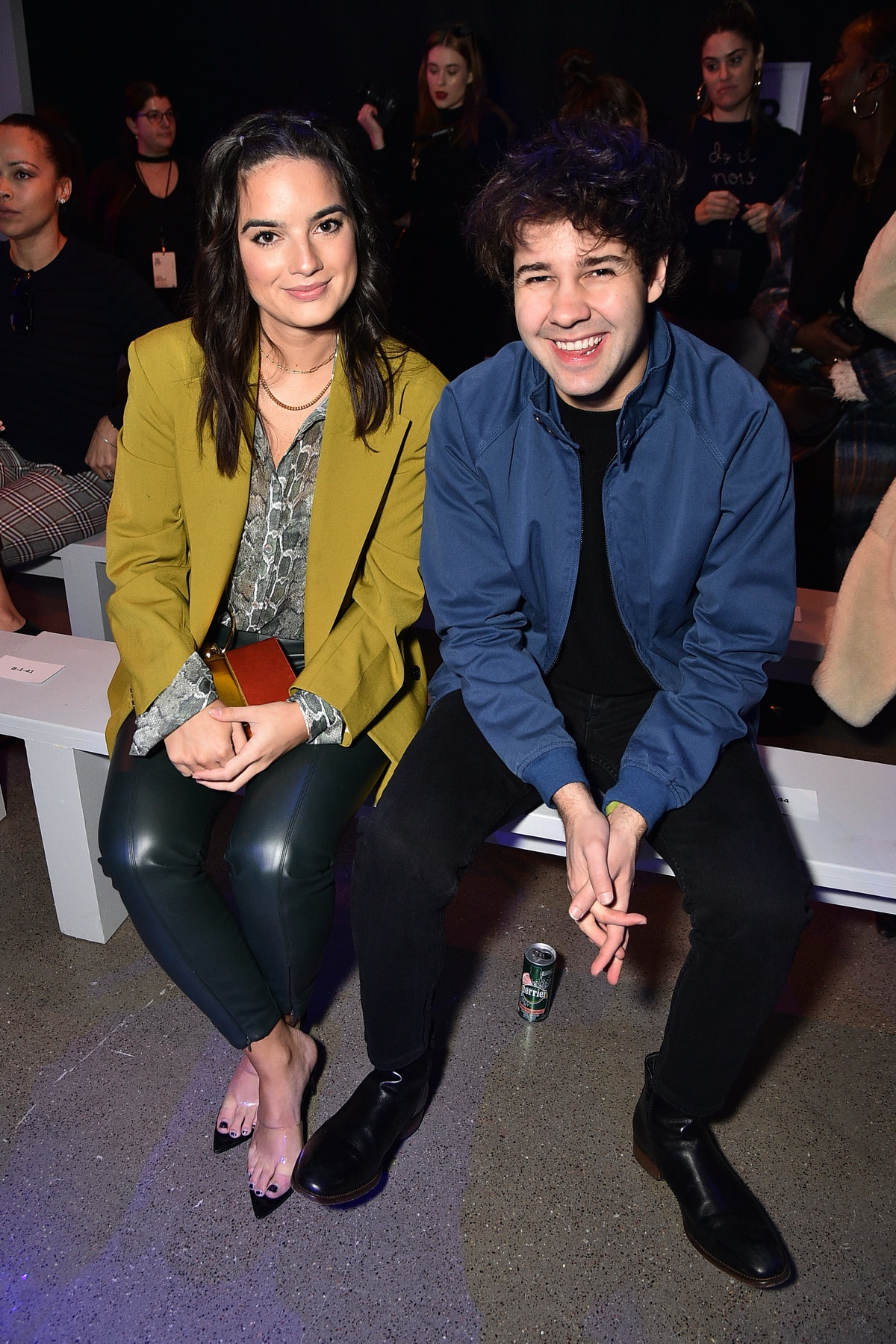 NEW YORK, NEW YORK - FEBRUARY 12: Natalie Mariduena (L) and David Dobrik attend the Aliette fashion show during February 2020 - New York Fashion Week: The Shows at Gallery II at Spring Studios on February 12, 2020 in New York City. (Photo by Theo Wargo/Getty Images)