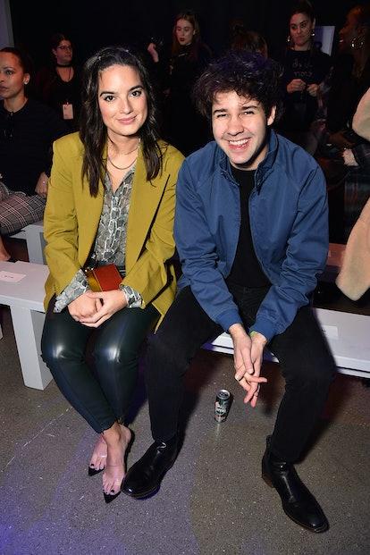 NEW YORK, NEW YORK - FEBRUARY 12: Natalie Mariduena (L) and David Dobrik attend the Aliette fashion ...