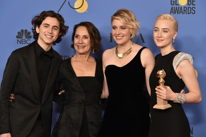 BEVERLY HILLS, CA - JANUARY 07:  Timothee Chalamet, Laurie Metcalf, Greta Gerwig and Saoirse Ronan attend the 75th Annual Golden Globe Awards - Press Room at The Beverly Hilton Hotel on January 7, 2018 in Beverly Hills, California.  (Photo by David Crotty/Patrick McMullan via Getty Images)