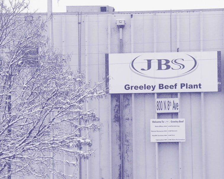 GREELEY, COLORADO - APRIL 16: The Greeley JBS meat packing plant sits idle on April 16, 2020 in Greeley, Colorado. The meat packing facility has voluntarily closed until April 24 in order to test employees for the coronavirus (COVID-19) virus. As more workers test positive for the coronavirus throughout the U.S, plants in Colorado, South Dakota, and Iowa have temporarily halted production.  (Photo by Matthew Stockman/Getty Images)