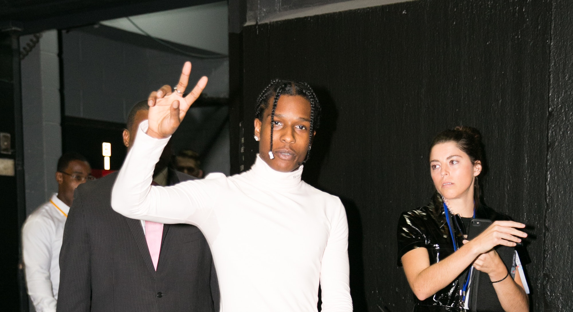 ASAP Rocky attends Calvin Klein show at New York Fashion Week, in New York City, US, on 11 september...