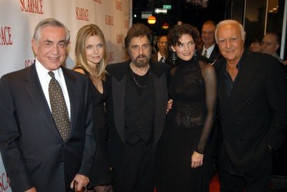 """""""Scarface"""" producer Martin Bregman, cast members Michelle Pfeiffer, Al Pacino, Mary Elizabeth Mastrantonio and Robert Loggia reunite at the 20th Anniversary premiere event celebrating the theatrical re-release held at the City Cinemas Theatres in New York City on September 17, 2003.  The special edition DVD release debuts September 30.  (Photo/Jeff Kravitz, Universal) (Photo by Jeff Kravitz/FilmMagic)"""